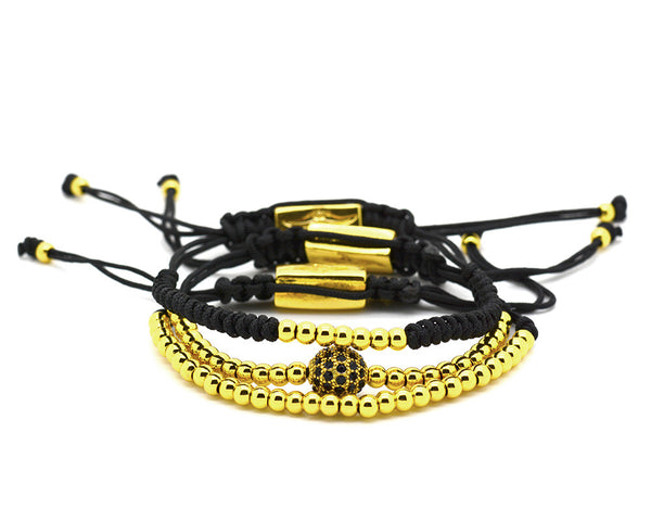 3 in 1 Mister Sting Yellow Gold Paved Disco Ball Macrame Bracelet - MSM2235