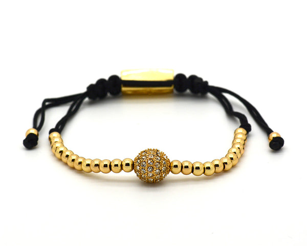 Mister Sting Paved Yellow Gold Paved Disco Ball Macrame Bracelet - MSM1238