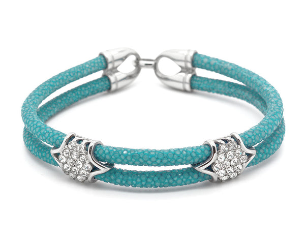 Turquoise Blue Stingray Skin Bracelet & Stainless Steel Accents with CZ Diamonds - MSS7410
