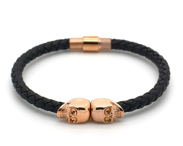 Rose Gold Double Skull and Black Nappa Leather Bracelet - MSN0100
