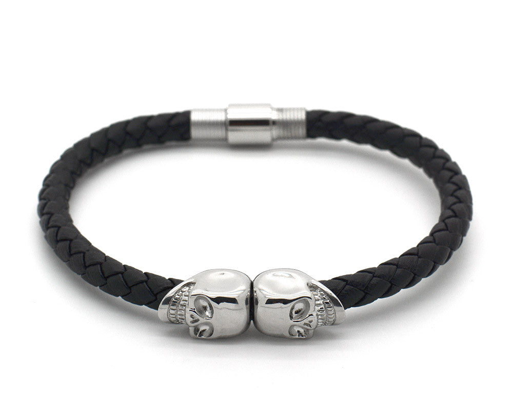 Stainless Steel Double Skull and Black Nappa Leather Bracelet - MSN0300