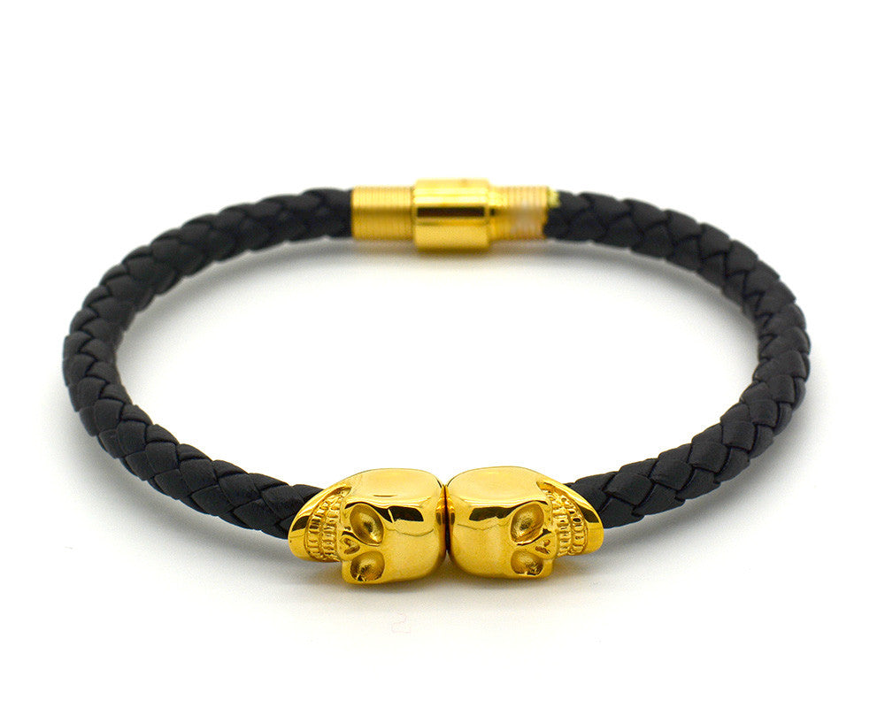 Yellow Gold Double Skull and Black Nappa Leather Bracelet - MSN0200
