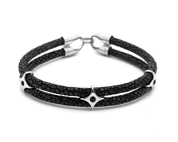Black Stingray Leather & Stainless Steel Stars  - MSS0011