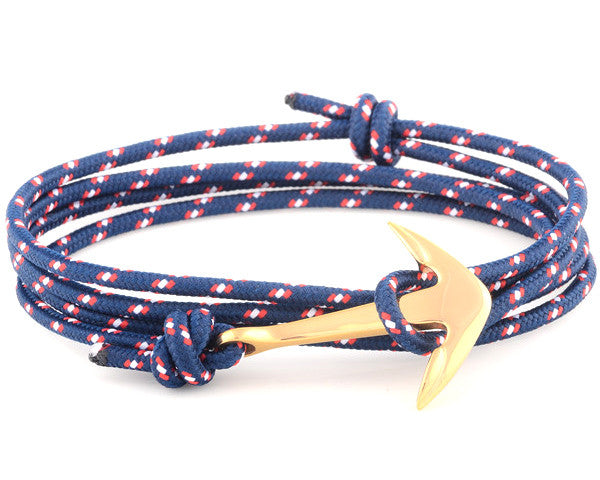Rose Gold Anchor with Blue Nylon Rope - MSA0003