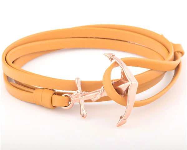 18K Rose Gold Anchor with Beige Leather Strap - MSA0060