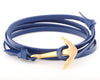 18K Yellow Gold Anchor with Blue Leather Strap - MSA0006