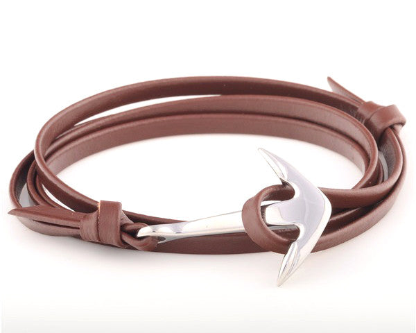 Stainless Steel Anchor with Brown Genuine Leather Strap - MSA0007