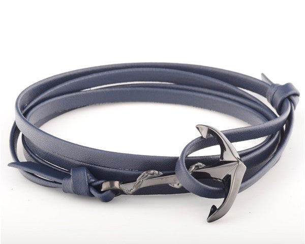 Black PVD Anchor with Blue Leather Strap - MSA0013