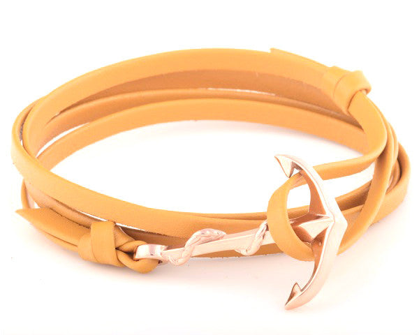 18K Rose Gold Anchor with Beige Leather Strap - MSA0015
