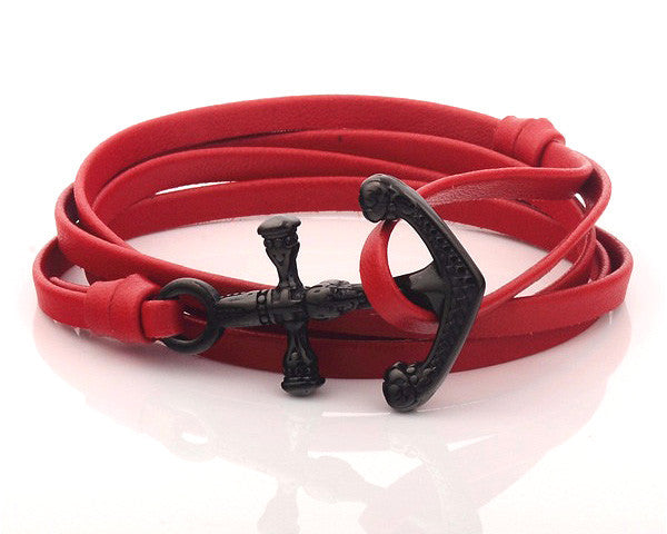 Black PVD Anchor with Red Leather Strap - MSA0541
