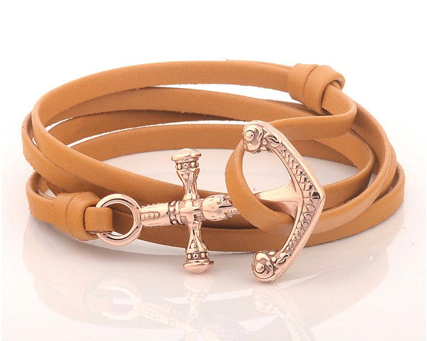 18K Rose Gold Anchor with Beige Leather Strap - MSA0542