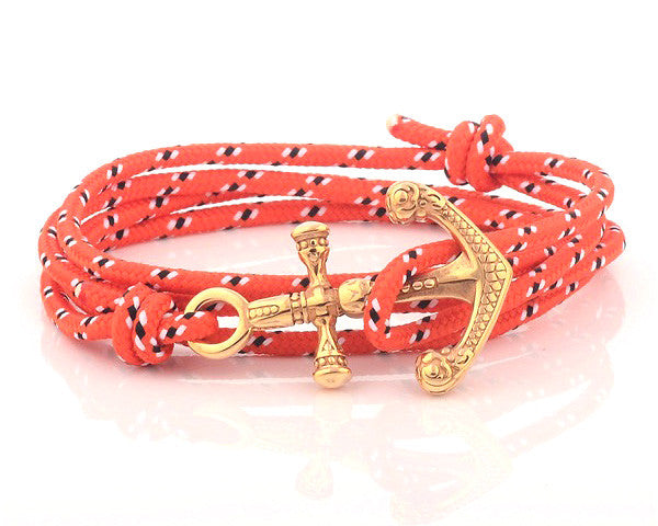 Yellow Gold Anchor with Orange Nylon Rope - MSA0543