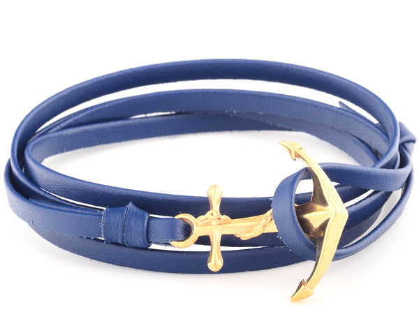 18K Yellow Gold Anchor with Blue Leather Strap - MSA0061
