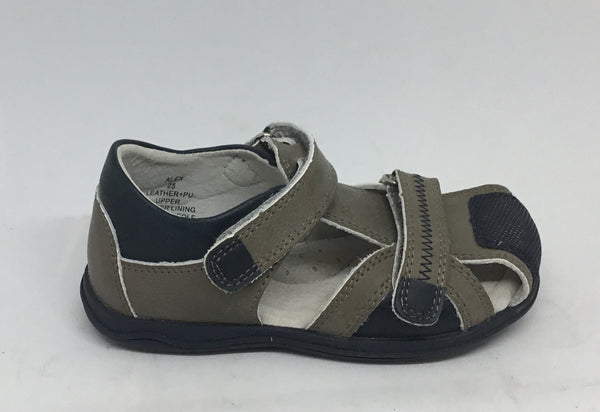 Tadpoles Alex kids sandal Navy and Taupe Leather Upper