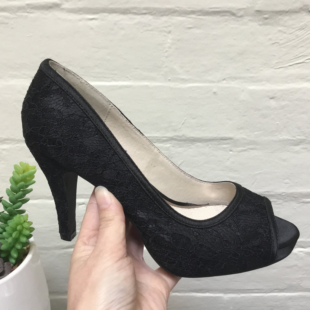 Lily Rose Marlee Black Satin and Lace Heel