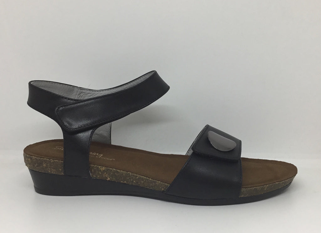 Klouds Silver Lining Happy Black Leather sandal