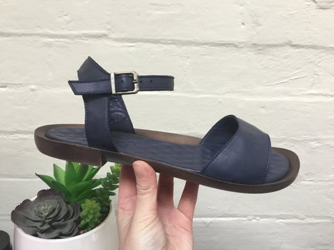 Camore Navy Leather Sandal