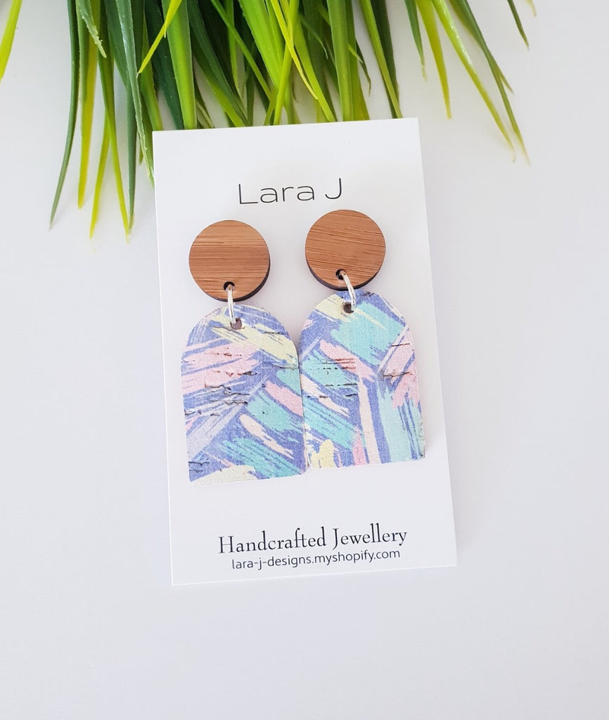 Lara J Earrings Funky Arch Bamboo and Leather #1
