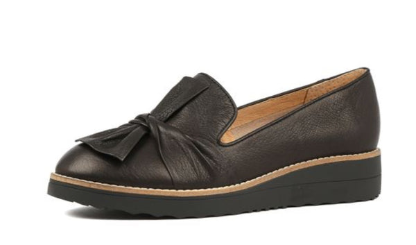 Top End Oclem Black Leather wedge