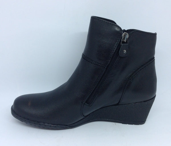 Kiarflex Klark Black Leather wedge boot