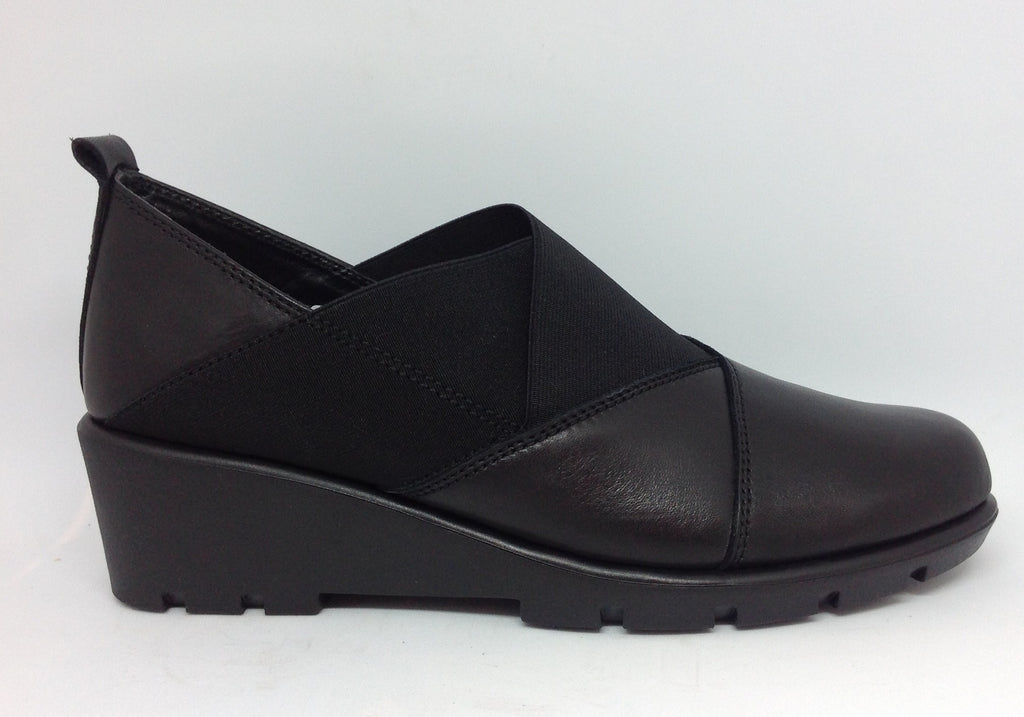 The Flexx Stockist The Flexx Slipslop Black Leather Wedge