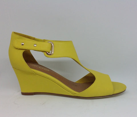 Top End Stockist Unico Yellow Leather Wedge