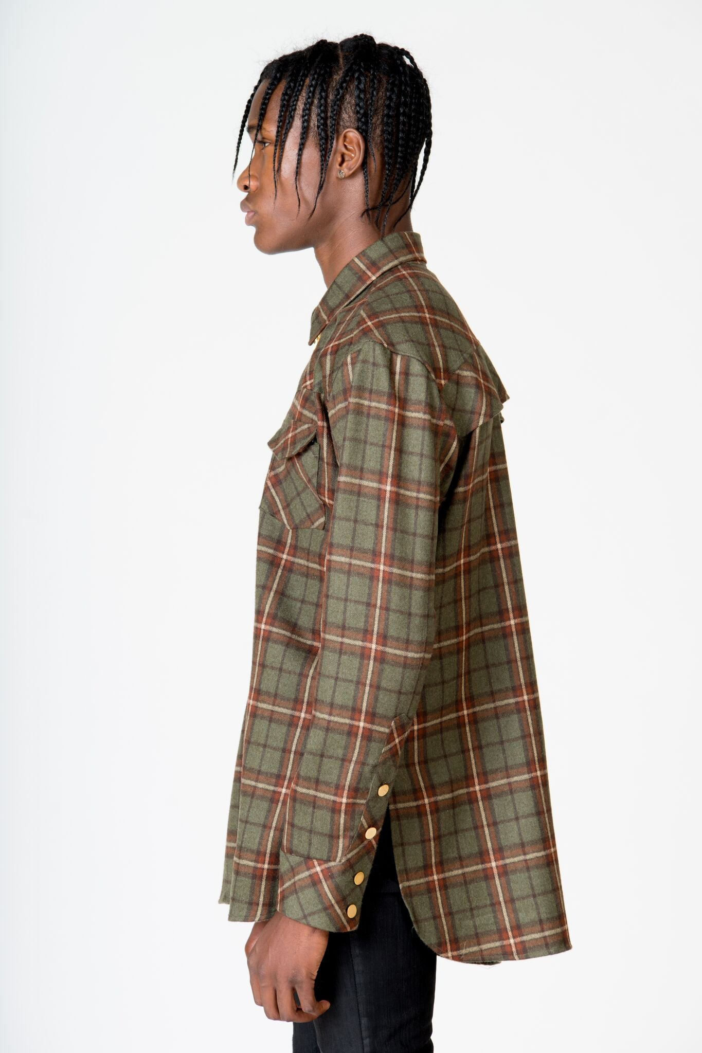 OLIVER YOUNG GREEN RODEO PLAID SHIRT