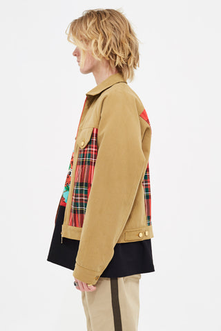 DENIM X TARTAN  (RED) JACKET