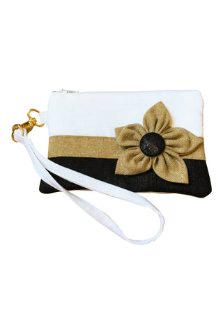 Go Team! Black and Gold Stadium Wristlet
