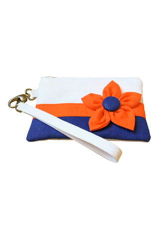 Go Team! Orange and Blue Stadium Wristlet