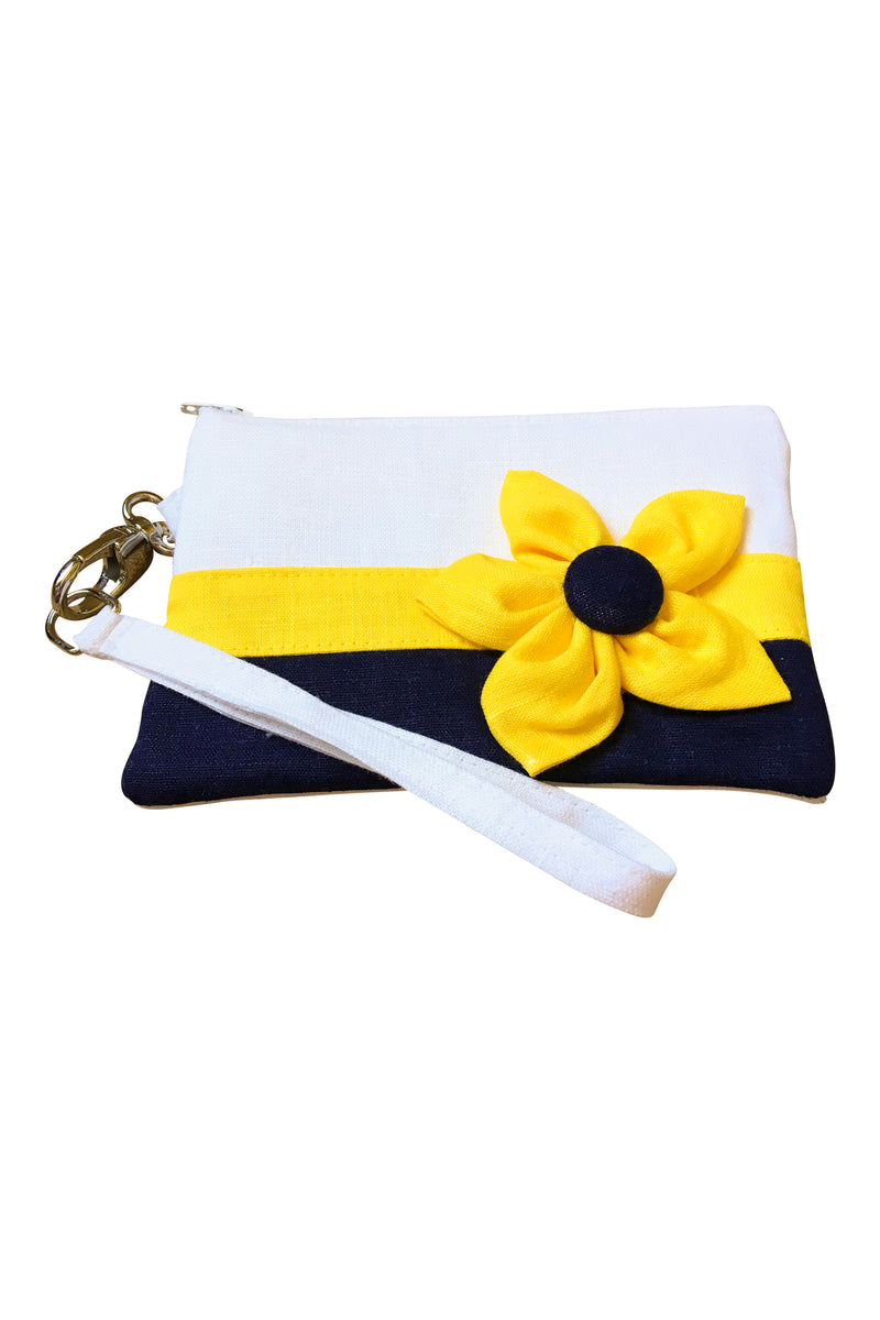 Go Team! Navy and Yellow Stadium Wristlet