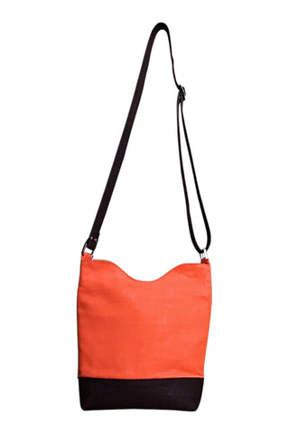 Go Team! Orange and Brown Medium Crossbody