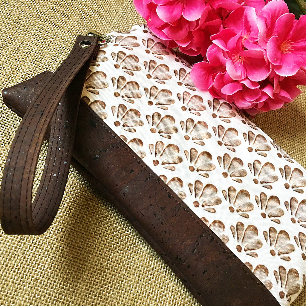 St. Lucia Chocolate Shell Wristlet