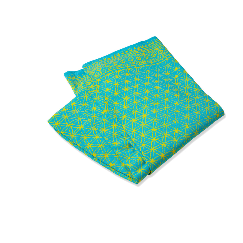 Sarong Flower of Life blau/gelb