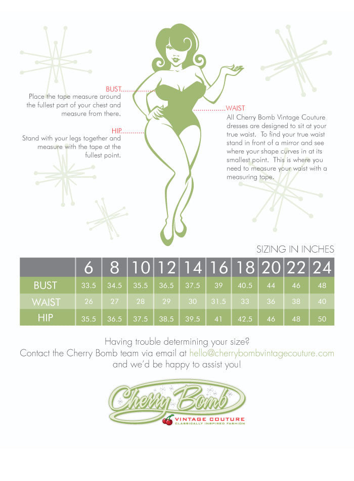 Cherry Bomb Vintage Couture Sizing Chart