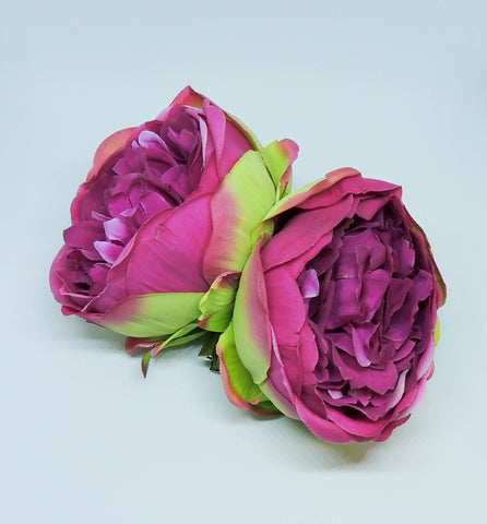Double Peony Hairpiece Magenta/Green