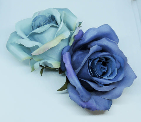 Classic Blue Double Rose Hairpiece