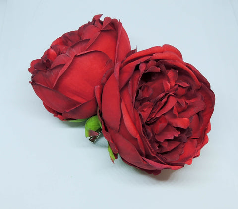 Double Peony Hairpiece Red