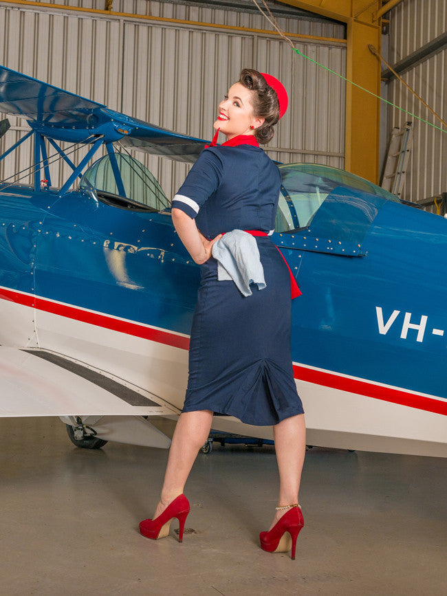 Hedy wiggle dress in classic navy by Cherry Bomb Vintage Couture