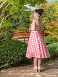 Lucille dress in coral gingham by Cherry Bomb Vintage Couture