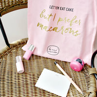 "Tote Bag - Pink & Gold ""But I Prefer Macarons"" Le Mini Macaron"