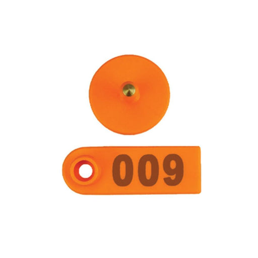 001-100 Cattle Number Ear Tags 5x2cm Orange Cow Sheep Pig Small Livestock Labels-Rooster Farms-ozdingo