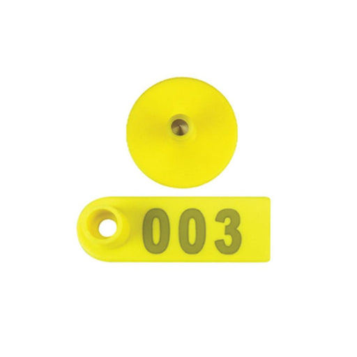 001-100 Cattle Number Ear Tags 5x2cm Yellow Cow Sheep Pig Small Livestock Labels-Rooster Farms-ozdingo