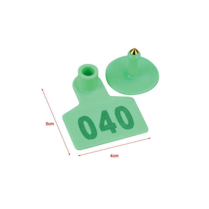 001-100 Cattle Number Ear Tags 5x4cm Green Cow Sheep Goat Small Livestock Labels-Rooster Farms-ozdingo