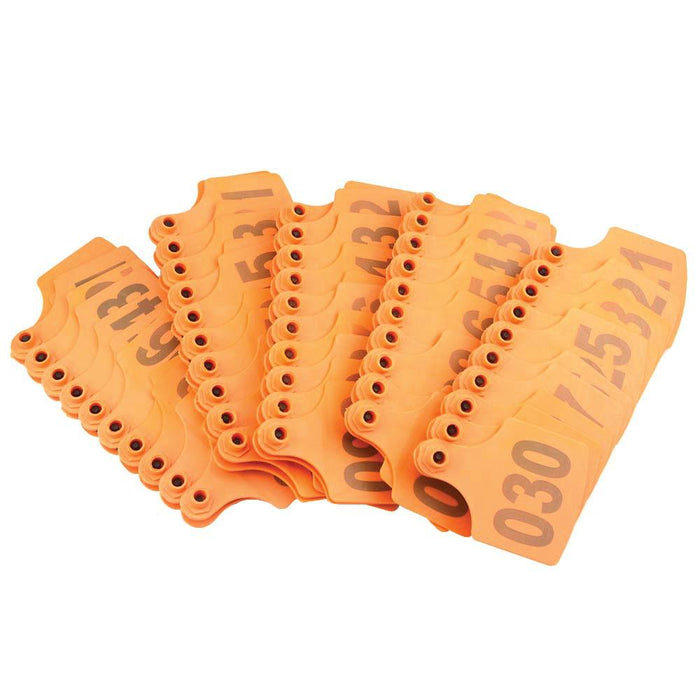 001-100 Cattle Number Ear Tags 6x7cm Set Orange Cow Sheep Medium Livestock Label-Rooster Farms-ozdingo