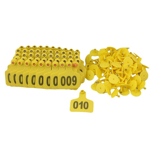 001-100 Cattle Number Ear Tags 6x7cm Set Yellow Cow Sheep Medium Livestock Label-Rooster Farms-ozdingo