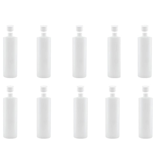 10x 250ml Clear HDPE Round Bottle Empty Plastic 28/410 White Cap Food Storage-Eco Storage-ozdingo