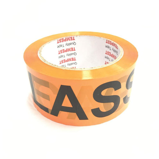 1x Glass Dispatch Tape Orange Black 48mm x 75mm Roll With Care Packing Label-Tempest-ozdingo