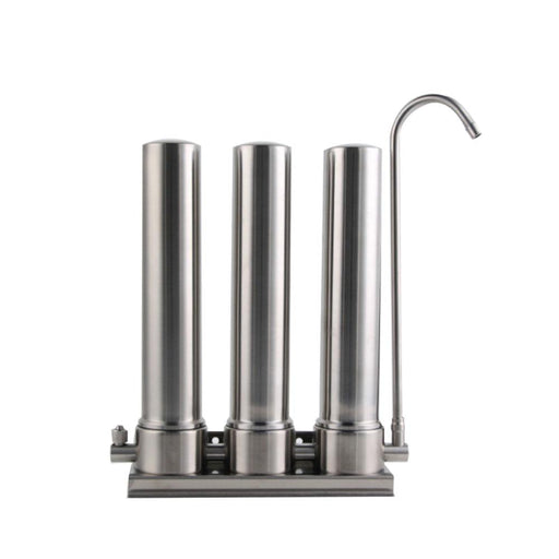 "3 Stage Countertop Water Filter Stainless 10"" Triple Ceramic Filtration System-Water Purifier-ozdingo"