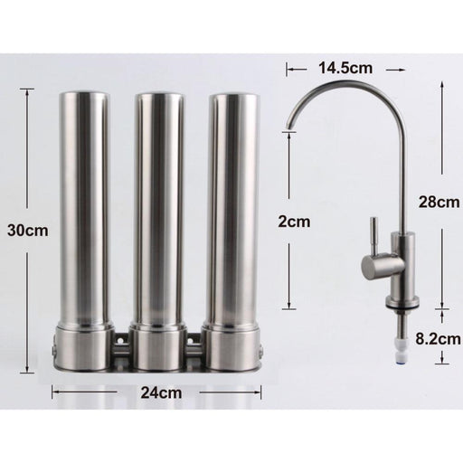 "3 Stage Undersink Stainless 10"" Water Filter Triple Ceramic Filtration System-Water Purifier-ozdingo"